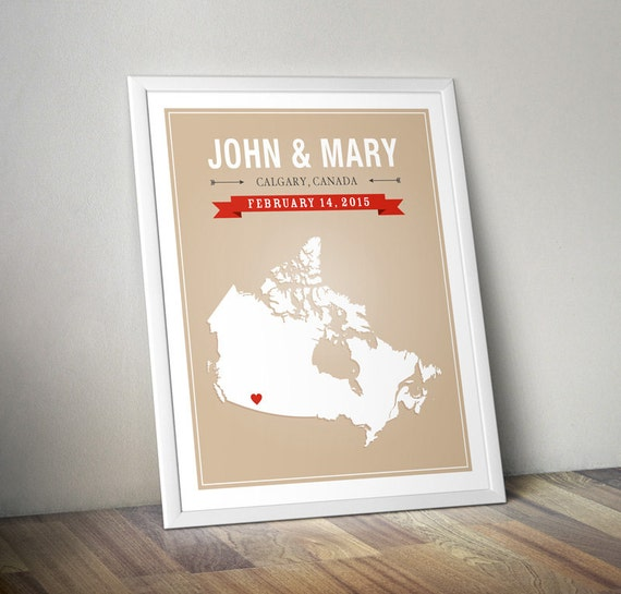 Personalized Canada Wedding Gift - Custom Canada Map Art Print ...