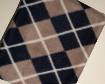 Navy Grey White Argyle Square Polar Fleece Ski/Snowboard/Snowmobile Fleece Neck Warmer Gaiter Tube Cowl