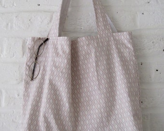Handmade Recycled Pinks & Greys Cotton Bag