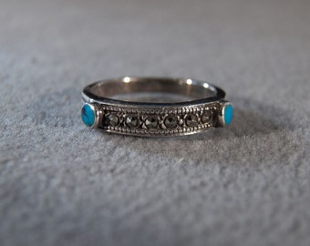 Vintage Sterling Silver Ring Set with Two Round Turquoise and Accented with Marcasite, size 7     **RL