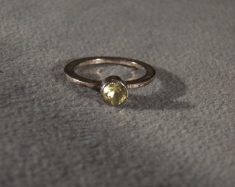 Vintage Sterling Silver Lemon Citrine Round Cut Classic Band Ring 8.5 Jewelry **RL