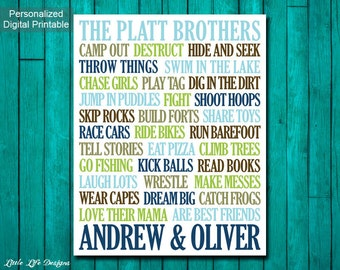 Brothers Wall Art. Boys Room Decor. Brothers Sign. Boy Nursery Decor. Big Brother Little Brother. Twins. Brothers Art. Brother Decor. Boys.