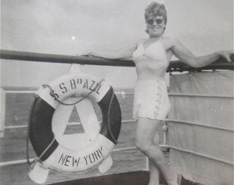 Vintage 1950's Older Woman In Bathing Suit Aboard the S S Brazil Snapshot Photo - Free Shipping