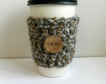 Coffee Cup Sleeve Cozy Take Out Coffee Cup Sleeve Cozy Gray Crocheted Coffee Cup Sleeve Hand Crocheted