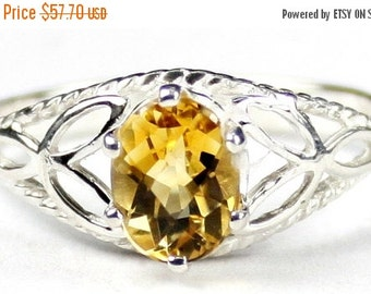 Fall is coming, 30% off, SR137, Citrine, 925 Sterling Silver Ring