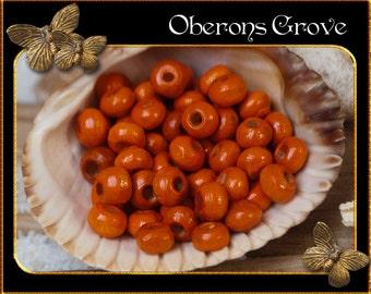 150  Wood Beads 3x4mm orange