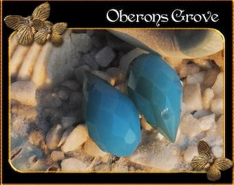 6 blue coloured tear drop beads 13x8mm