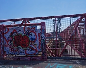 Williamsburg Bridge Graffiti, New York City, Wall Art. Bridge photography. New York Photography. City Photography, New York Print
