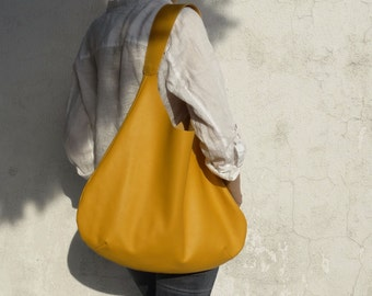 Yellow Leather Hobo Bag/ 20% Off/Yellow Shoulder Hobo Bag/Large Yellow Leather Hobo Bag/Big Leather Hobo Bag/Ready to ship