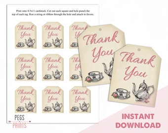 Tea Party Thank You Tags - Tea Party Gift Tags - Bridal Shower Thank You Tags - Instant Download - Bridal Shower Favor Tags - PRINTABLE