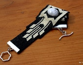 Bead Woven Cuff, Peyote Beaded Bracelet, Silver and Black Delica Seed Beads, Buffalo Turquoise Stone, OOAK