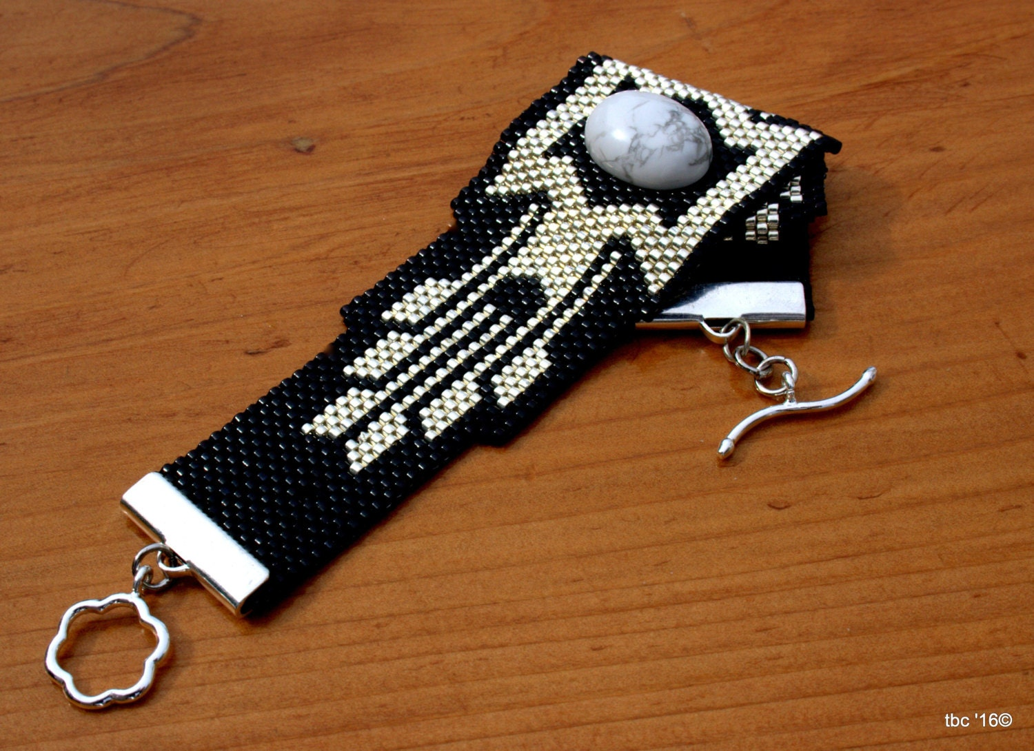 bead woven cuff peyote beaded bracelet silver and black