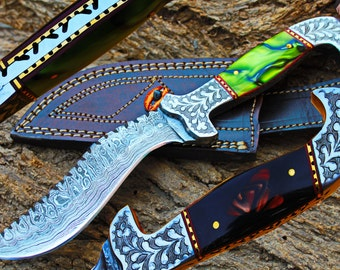 """5.4"""" Damascus Blade Collector Hunting Knife w/Engraved Steel Bolsters,Buffalo Horn, KErinite, File-Work, Sheath UDK-F-11"""