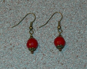 Red and Bronze Earring