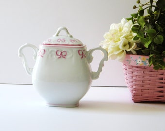 Vista Alegre Fine Porcelain Ruban Pink Sugar Bowl and Lid Pink Bows and Trim