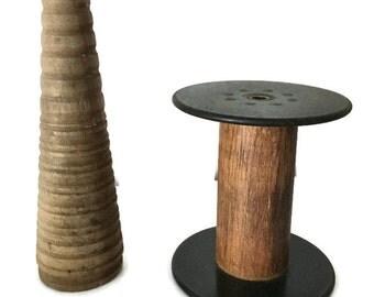 Pair of Antique Industrial Wooden Thread Spools