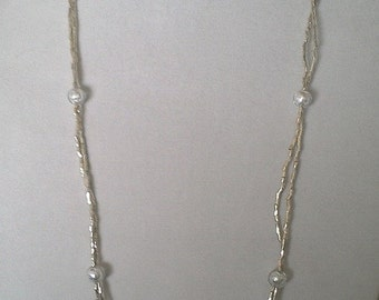 Seed Bead Necklace with Glass Looking Beads