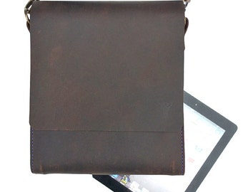 Handmade leather messenger bag designed to fit ipad, dark brown leather