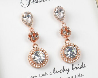 Bridal Earrings Bridesmaid Gift Wedding Earrings Bridal Jewelry Rose Gold clear white cubic zirconia Crystal tear drop Wedding Earrings