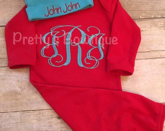 Baby boy coming home outfit -- monogrammed gown-- Monogramed newborn gown and hat -- baby shower gift