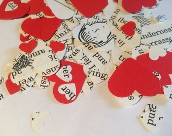 Heart Shaped | CONFETTI | RED | Story Book | Book Page | Party | Decorations | Paper | Birthday | Wedding | Table Scatters | Embellishments