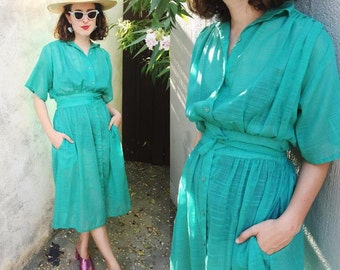 Vintage 80s Dress | 80s Semi Sheer Short Sleeve Shirt Dress Seafoam Green | Medium M