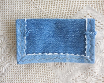 Check book Cover in Recycled Denim, sturdy hardworking upcycled denim for top tear checks and register, debit card pocket, checkbook cover 5