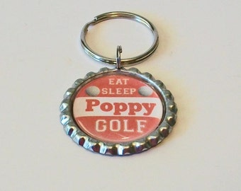 Orange and White Eat Sleep Golf Poppy Grandfather Father's Day Metal Flattened Bottlecap Keychain Great Gift