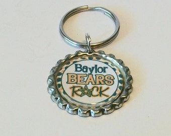 Green and Gold Bears Rock Metal Flattened Bottlecap Keychain