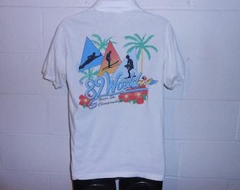 Vintage 1989 World Water Ski Championship White Short Sleeve Polo Shirt Sz L