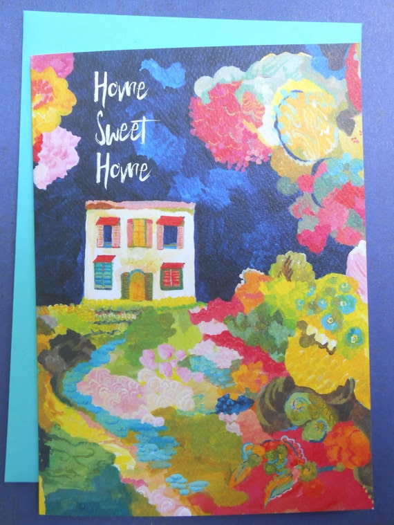 Nightgarden greeting card by Kimberly Hodges, home sweet home card, housewarming card, well wishes on your journey card, bon journey