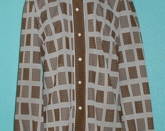 "60s70s Ladies' Vintage ""Jo Hardin"" Brown/White Polyester Shirt — Size Large"