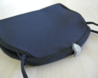 1950s 60s Black Clutch Mod Retro Handbag Ornate Clasp by Harry Levine