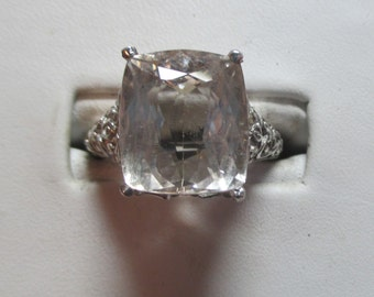 Ladies 11.68 Imperial topaz stunning filigree sterling antique style ring