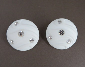 White Lucite Rhinestone Domed Earrings, Vintage Button Pierced Studs