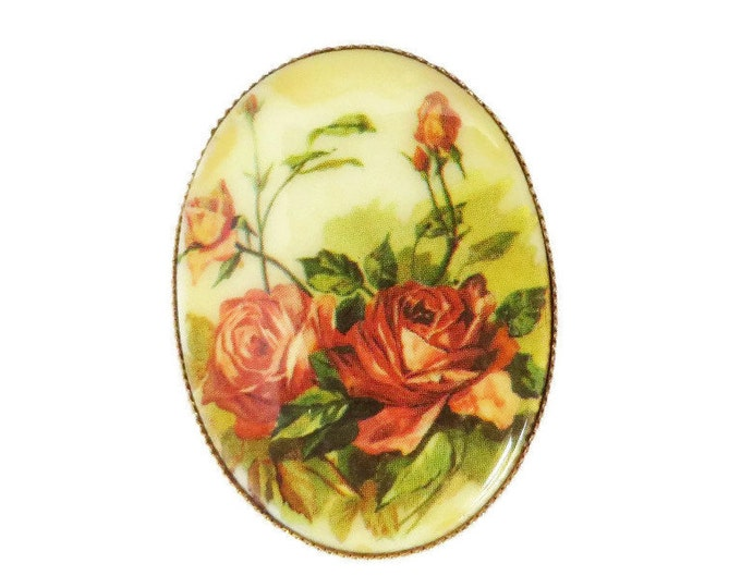 Vintage Porcelain Roses Brooch, 1950s Oval Floral Transferware Pin, Antique Style Muted Roses Pin