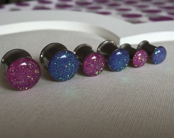 Pink and purple iridescent 6mm double colour glitter plug  stainless resin