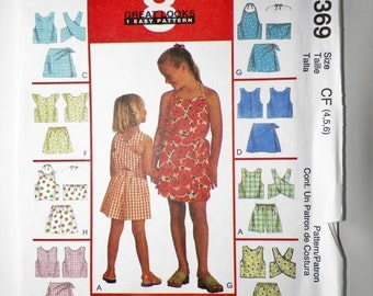 Childrens & Girls Sewing Pattern McCall's 9369 Tops Skort And Shorts Sets UNCUT Sizes 4-5-6 Girls Sewing Pattern