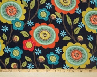 """Corduroy Fabric """"Stitch Floral"""" Navy Fabrics by Michael Miller"""