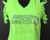 Shredded Rhinestone Custom Seahawks Tee in Neon Green