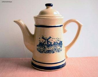 Vintage Dutch Holland Heavy Pottery Countryside Village Scene Design Coffee Pot