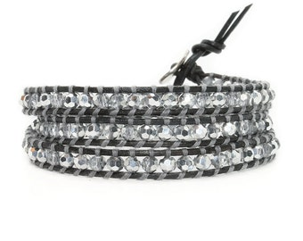 Crystal + Leather Triple Wrap Bracelet