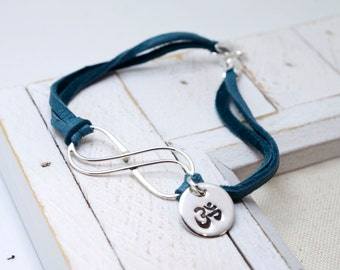 Infinity OM Leather Bracelet, OHM Bracelet, Yoga, Aum, Yoga Jewelry, OM