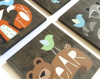 Woodland Nursery Art - Set of 4 - Rustic Nursery Decor - Woodland Animals - Fox Art - Deer Art - Bear - Woodland Critters - Forest Animals