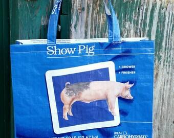 Repurposed Show Pig Feed Tote Bag