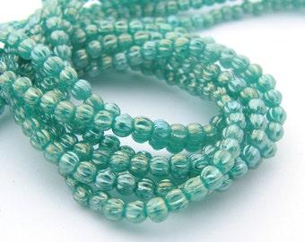 NEW Luster Iris Atlantis Green 3mm Melon Fluted Round Czech Glass  Beads 100pc #3102