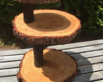 Large Log Pine Wood Rustic Cake 60-70 Cupcake Stand Wedding party shower wooden 3 tiered DIY