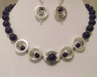 Black Onyx-Hematite-Silver Circle 17 inch Necklace and Earrings Set.  Unique one of a kind set.