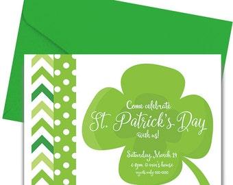 St. Patrick's Day Party Invitation - St. Patrick's Day Party Invite - Shamrock Invitation - Four Leaf Clover Invitation - Printed & Shipped