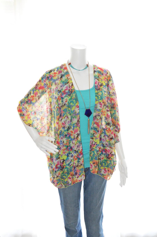 Floral Kimono Cardigan/ Cropped Kimono Jacket / Lightweight Floral ...